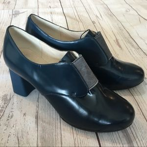 CAMPER Myriam Blue Leather Chunky Heels